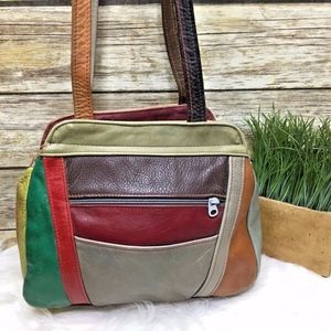 Vintage Multi Color Leather Patchwork Shoulder Bag